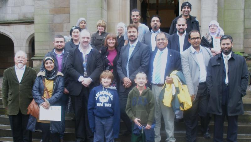 Photo of MJF visitors on the steps of the British Muslim Heritage Centre
