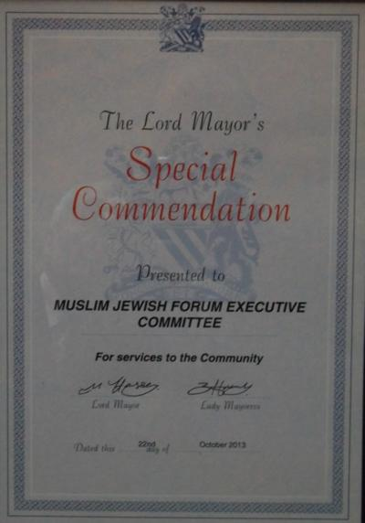Certificate presented by Lord Mayor of Manchester